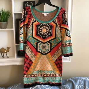 FLYING TOMATO Aztec fitted sweater dress, size M